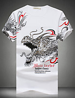 Men's Casual Slim Dragon Totem Printed T-shirt , Cotton / Polyester Casual / Plus Sizes Print