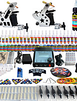 Solong Tattoo Complete Tattoo Kit 2 Pro Machine Guns 54 Inks Power Supply Foot Pedal Needles Grips Tips TK258