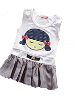 Girl's Purple / Gray Dress Cotton Summer