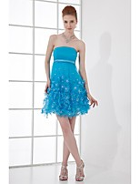 Lanting Short/Mini Tulle Bridesmaid Dress - Ocean Blue A-line Strapless