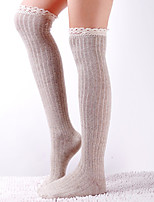 Womens Lolita Cosplay Over-Knee Highs Lace Trim Knit Cotton Socks
