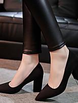 Calçados Femininos-Saltos-Conforto / Bico Fino-Salto Grosso-Preto / Vermelho / Cinza-Courino-Social / Festas & Noite
