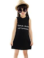 Girl's Black / White / Gray Dress,Print Cotton Summer