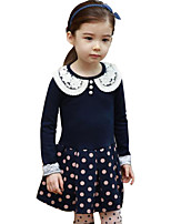 Girl's Blue / Pink Dress Cotton Spring / Fall