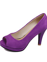 Calçados Femininos-Sandálias-Peep Toe / Plataforma-Salto Agulha-Preto / Roxo / Vermelho-Courino-Escritório & Trabalho / Social / Festas &