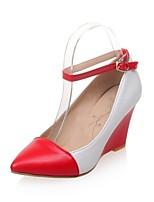 Zapatos de mujer-Tacón Cuña-Tacones-Tacones-Exterior / Oficina y Trabajo / Fiesta y Noche-Semicuero-Negro / Rojo