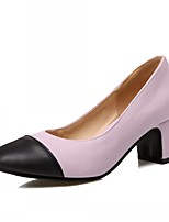 Women's Shoes Leatherette Chunky Heel Heels Heels Outdoor / Office & Career / Party & Evening Pink / White / Almond
