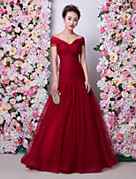 Formal Evening Dress - Burgundy Trumpet/Mermaid Off-the-shoulder Floor-length Tulle / Charmeuse