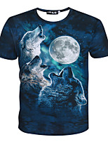 Landscape Figure   3 d stereo male and female 3 d short sleeve T-shirt with short sleeves