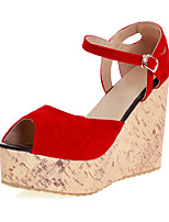 Women's Shoes Leatherette Wedge Heel Peep Toe Sandals Wedding / Outdoor / Party & Evening Black / Blue / Red
