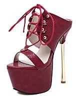 Women's Shoes Leatherette Stiletto Heel  Open Toe Sandals Dress Black / Burgundy