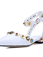 Women's Shoes Cowhide / Leather Flat Heel Fashion Boots / Comfort / Ankle Strap / Pointed Toe Flats Outdoor White