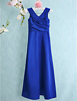 Floor-length Charmeuse Junior Bridesmaid Dress-Royal Blue Sheath/Column V-neck