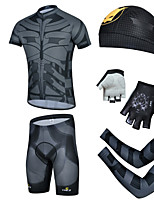 CHEJI Men's Cycling Short Sleeves Sets & Pirate Hat + Gloves + Sleeves