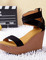 Women's Shoes Leather Wedge Heel Wedges / Heels / Slingback / Closed Toe Sandals Dress Black