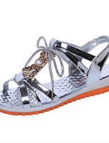 Women's Shoes Leatherette Low Heel Comfort Sandals Outdoor / Casual Silver / Gold