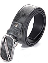 L.WEST® Men's Leather Smooth Buckle Belt