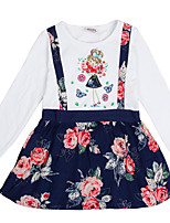 Girl's Dress Long Sleeves Floral Dress Kids Dresses(Random Printed)