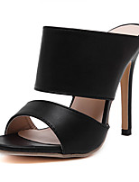Women's Shoes Leatherette Stiletto Heel Open Toe Sandals Dress Black / White
