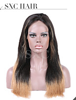 Two Tone Ombre Virgin Brazilian Straight Human Hair Wigs Silk Top Lace Front Wigs With Baby Hair For Black Women