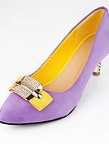 Zapatos de mujer-Tacón Stiletto-Tacones-Tacones-Exterior / Oficina y Trabajo / Fiesta y Noche-Semicuero-Negro / Morado / Rojo