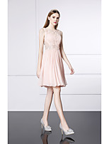 Cocktail Party Dress-Pearl Pink A-line Jewel Short/Mini Silk / Satin Chiffon