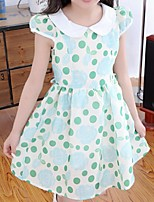 Girl's Blue / Green Dress,Dot Cotton Summer / Spring