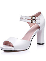 Women's Shoes Chunky Heel Peep Toe Sandals Party & Evening / Dress Pink / Red / White