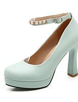 Zapatos de mujer-Tacón Stiletto-Tacones-Tacones-Boda / Oficina y Trabajo / Fiesta y Noche-Semicuero-Azul / Rosa / Blanco