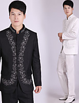 Suits Tailored Fit Mandarin Collar Single Breasted More-Button Polyester/Rayon(T/R) Patterns 2 Pieces Black / White