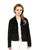 Women's Solid Beige / Black Cloak/Capes , Simple V Neck Long Sleeve