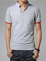 T-shirt Uomo Casual / Da ufficio / Attività sportive / Taglie forti Tinta unita Manica corta Cotone / Elastene