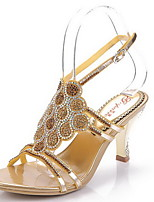 Women's Shoes Leather Stiletto Heel Heels Sandals Party & Evening / Dress / Casual Silver / Gold