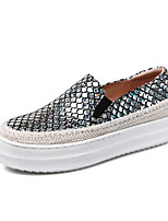Women's Shoes Leather Platform Platform / Creepers / Round Toe Loafers Outdoor / Casual Black / Silver(Genuine leather)