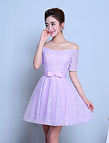 Knee-length Tulle Bridesmaid Dress-Grape A-line Bateau