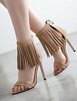 Women's Shoes Fleece Stiletto Heel  Open Toe Sandals Dress Almond