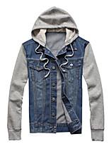 Men's Fashion Removable Cap Long Sleeve Slim Fit Denim Jacket