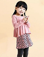 Girl's Pink Dress,Leopard Cotton Spring / Fall