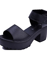Women's Shoes Leatherette Chunky Heel Heels Sandals Casual Black / White