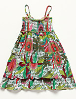 Girl's Multi-color Dress , Floral Cotton Summer