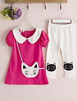 Girls' Casual/Daily Solid Sets,Cotton Summer Short Sleeve Clothing Set