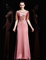Formal Evening Dress - Burgundy / Sage / Black / Candy Pink Sheath/Column Bateau Floor-length Satin / Sequined