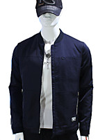 Men's Long Sleeve Jacket , Cotton Casual / Work / Formal / Sport / Plus Sizes Pure / Color Block
