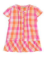 Girl's Orange Dress,Check Cotton Summer