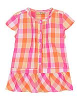 Girl's Orange Dress,Check Cotton Summer