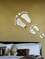 Hot Sale Rushed Mural A Family of Three Feet Step By with Baby 3d Mirror Wall Sticker Diy Home Decoration Happiness Gift