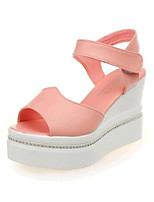 Women's Shoes Leatherette Wedge Heel Wedges Sandals Casual Pink / White