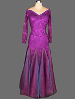 Ballroom Dance Dresses Women's Performance Crepe / Velvet Draped 1 Piece 7 Colors