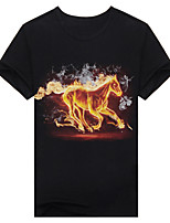 Men's Short Sleeve T-Shirt,Cotton Casual / Work / Formal / Sport Print 3D fire horse t-shirt t-shirt fashion clothes