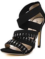 Women's Shoes Synthetic Stiletto Heel Heels / Gladiator Sandals Wedding / Party & Evening / Dress Black